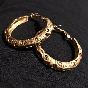 Amazing intricate cut out brass antique hoops
